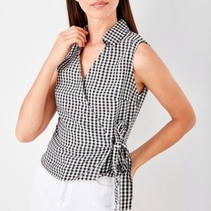 DKNY Silk Black White Gingham Wrap Top Size 10